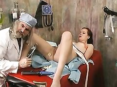 Dirty doctor inspects a girl and fucked faux-cock