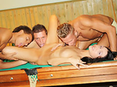 Dark-Haired porked firm on the pool table