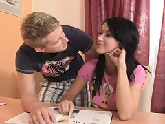 Czech black-haired lured procure associates jizz-shotgun riding