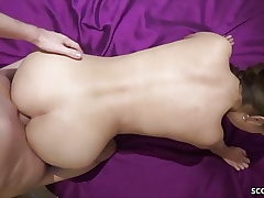 German Youthfull Couple in Unexperienced Porn with Real Female Climax