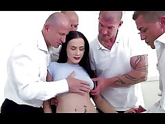 Bratty daughter double penetration gang-fucked by dad and all his homies