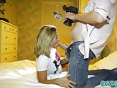 Meeting Wedge - Light-haired beauty takes load down her throat