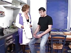 German Vintage Grandmother Seduce to Fuck by Young Guy in Kitchen