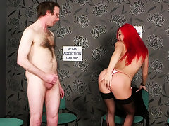 Horny red-haired Britt teasing during JOI
