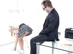 Her fun bags alone were enough to make Veronika's tricky aged teacher want to bang her brains out