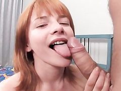 Redhead honey takes dick in her ass and gargles
